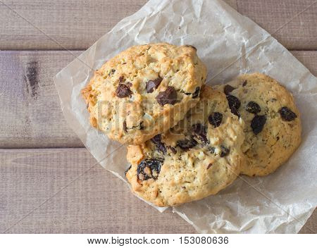 Closeup of homemade moms chocolate cookies on wooden background