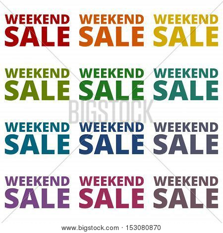 Simple Weekend Sale icons set on white background
