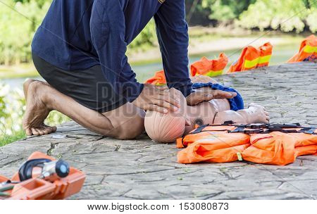 CPR and AED training child dummy drowning case