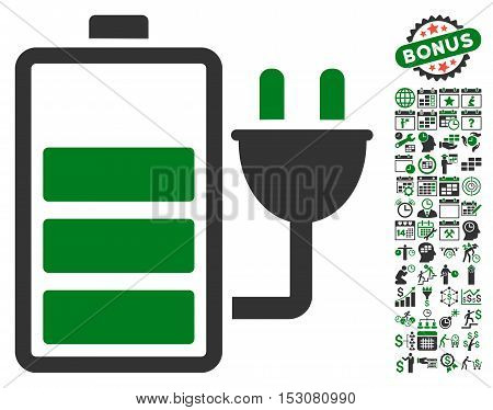 Charge Battery icon with bonus calendar and time management images. Glyph illustration style is flat iconic symbols, green and gray colors, white background.