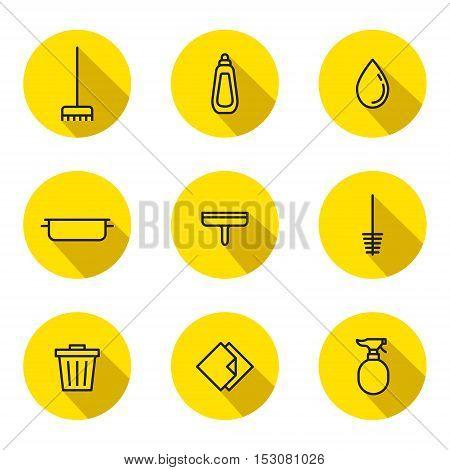 Cleaning outline black and yellow vector circle icon set. Clean and simple design. Part one.