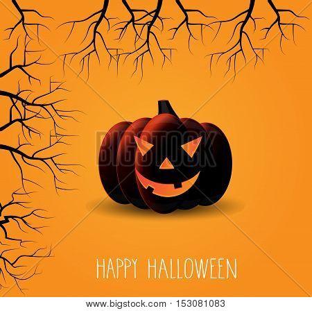 Smiling pumpkin. Happy Halloween handwritten text. Vector illustration.