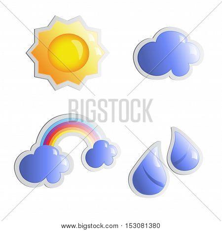 Vector weather stickers - sun, cloud, rain and rainbow shiny symbols