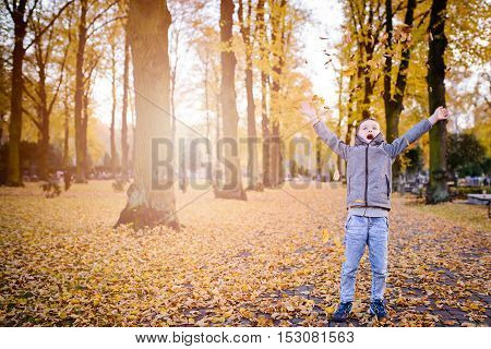 Happy Child Boy Playing With Colorful Leaves