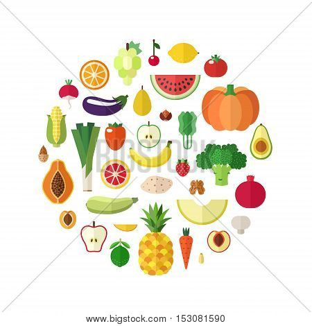Vegetables fruits and nuts food vector circle background. Modern flat design.