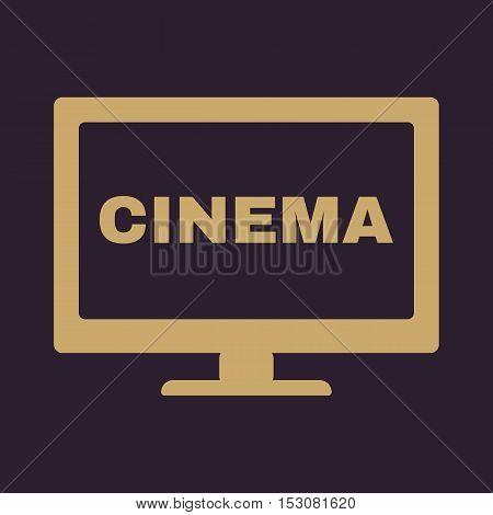 The cinema icon. Television and tv, movie, film symbol. Flat Vector illustration