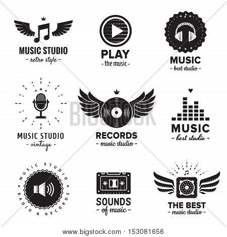 Music studio and radio logo vintage vector set. Hipster and retro style. Perfect for your business design.