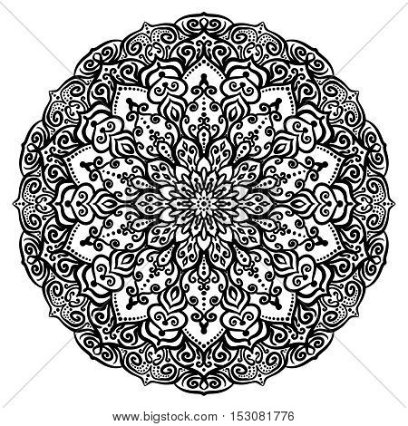 Vector flower coloring page. Color book design element. Flourish round ornament. Curly decorative pattern. Weave decoration for pillow, greeting card, notebook, plate, dish. Hand drawn illustration.
