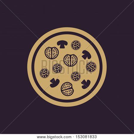 The pizza icon. Fast food and baking symbol. Flat Vector illustration
