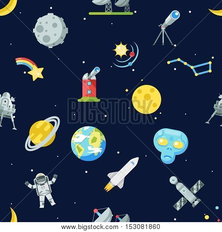 Seamless Pattern Space Symbol Innovation Technology Flat Background Icons Set Template Vector Illustration