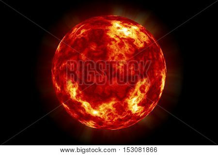 Sun planet in the space black background