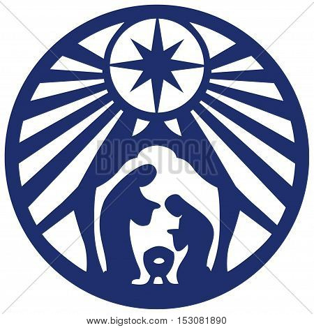 Holy family Christian silhouette icon vector illustration blue on white background. Scene of the Holy Bible