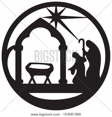 Adoration of the Magi silhouette icon vector illustration black on white background. Scene of the Holy Bible