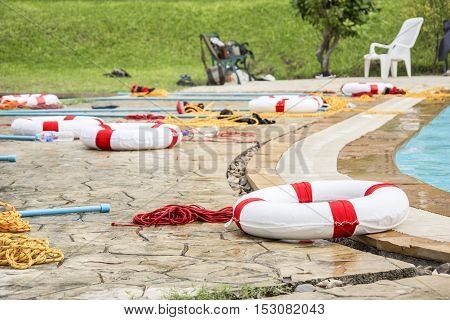 ring buoy lifeline and equipment rescue victim drowning for training