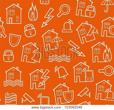 Security of housing and office buildings, background, seamless, orange-brown.  Vector background with white contour drawings on the orange box. Protection of residential and business premises.