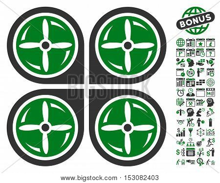 Nanocopter Screws Rotaion icon with bonus calendar and time service pictograms. Glyph illustration style is flat iconic symbols, green and gray colors, white background.