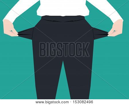 Businessman Hand Showing Empty Pockets. Concept Business Illustration. Vector Flat