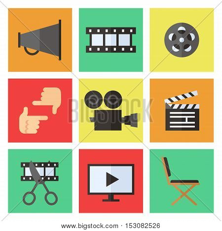 Film movie and video flat multicolored icons vector set. Modern minimal design.
