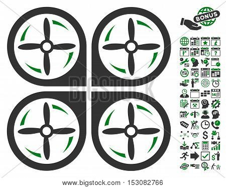 Quadrotor Screws Rotation pictograph with bonus calendar and time service clip art. Glyph illustration style is flat iconic symbols, green and gray colors, white background.