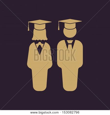 The student boy and girl icon. School, academy, college, education symbol. Flat Vector illustration