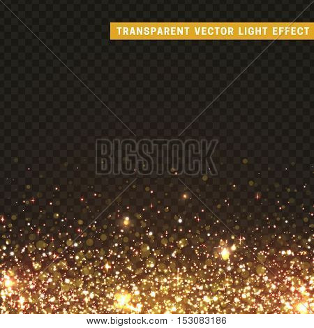 Transparent vector light effect gold, yellow. Glitter particles, shining stars , space background. Bright design element, gold luxury greeting card