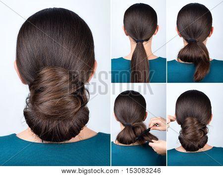 Hairstyle tutorial elegant twisted bun. Hairstyle easy chignon tutorial. Hairstyle tutorial for long hair. Hairstyle bun. Tutorial. Hair model.