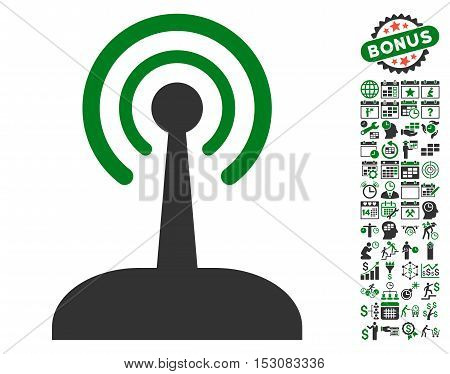 Radio Control Joystick icon with bonus calendar and time management symbols. Glyph illustration style is flat iconic symbols, green and gray colors, white background.