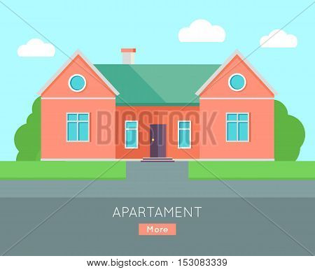 Appartment banner poster template. Separete house. Exterior home icon symbol. Residential cottage in red colors. Part of series of modern buildings in flat design style. Real estate concept. Vector