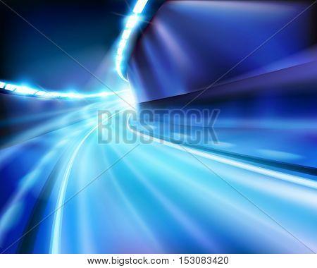 Illuminated tunnel. Vector illustration.