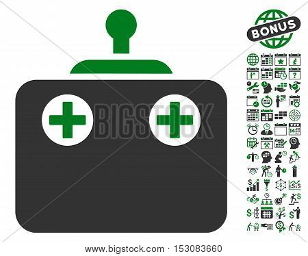 Remote Control pictograph with bonus calendar and time management icon set. Glyph illustration style is flat iconic symbols, green and gray colors, white background.