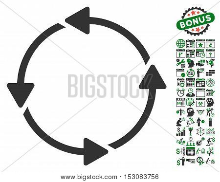 Rotation CCW pictograph with bonus calendar and time service graphic icons. Glyph illustration style is flat iconic symbols, green and gray colors, white background.
