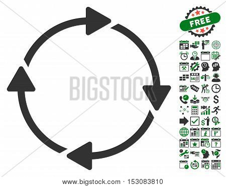 Rotation icon with bonus calendar and time management clip art. Glyph illustration style is flat iconic symbols, green and gray colors, white background.
