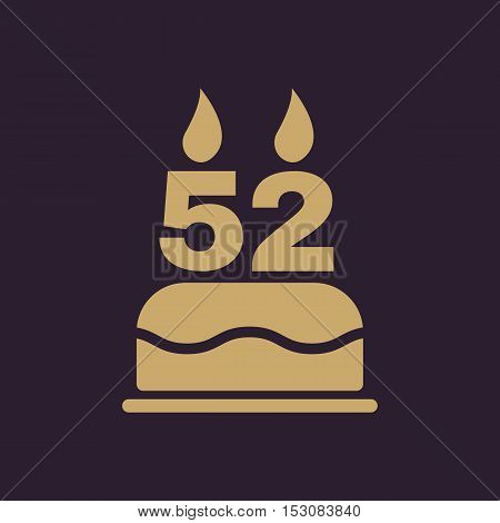 The birthday cake with candles in the form of number 52 icon. Birthday symbol. Flat Vector illustration