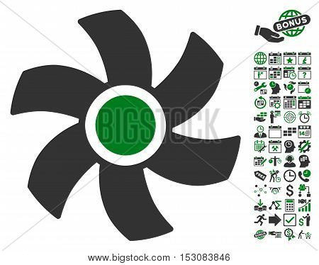 Rotor pictograph with bonus calendar and time management icon set. Glyph illustration style is flat iconic symbols, green and gray colors, white background.