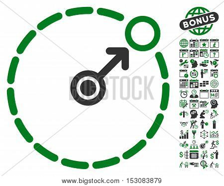 Round Area Border pictograph with bonus calendar and time management graphic icons. Glyph illustration style is flat iconic symbols, green and gray colors, white background.