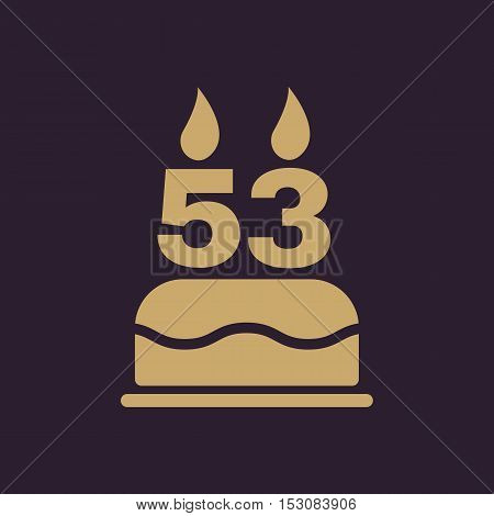 The birthday cake with candles in the form of number 53 icon. Birthday symbol. Flat Vector illustration