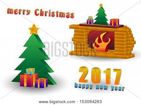 Christmas tree by the fireplace illustration made in isometric style
