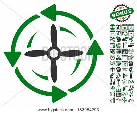 Screw Rotation pictograph with bonus calendar and time management clip art. Glyph illustration style is flat iconic symbols, green and gray colors, white background.