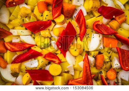 Fresh Mixed Vegetables For Salad Or Side Dish With Spices.