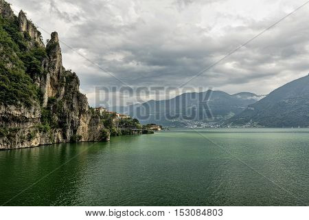 The lake of Iseo near Lovere (Bergamo Lombardy Italy) at summer