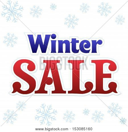 Winter season. Sale typographic illustration. Lettering winter sale. Calligraphy isolated on white background with snowflakes. Sale vector.