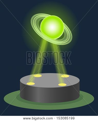 Innovation Astronomy museum center Saturn hologram on illuminated pedestal. Future technology education physics lesson. Vector illustration