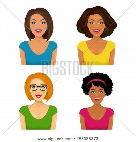 Group Of Four Attractive Smiling Women Faces With Different Ethnic Affiliation And Hair Style. Vecto