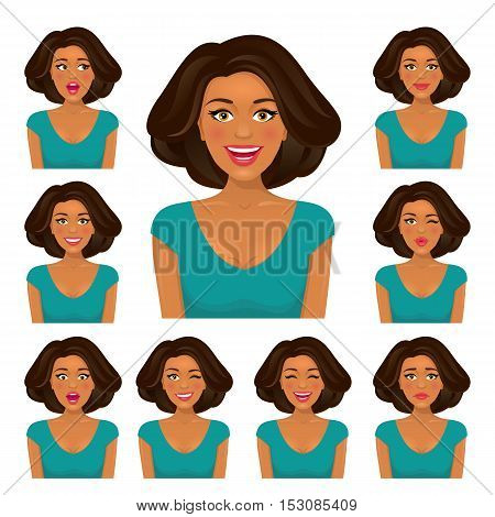 Attractive Brunette Woman With Dark Skin And Nine Variors Facial Expressions Set. Vector Cartoon Cha