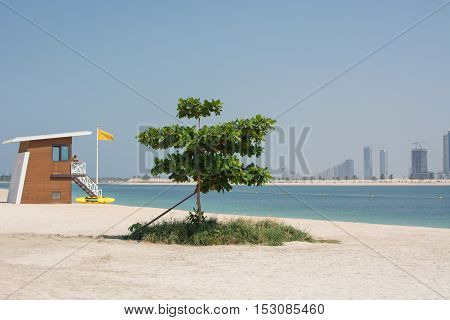 white beach of the Persian Gulf, a rescue post, Dubai