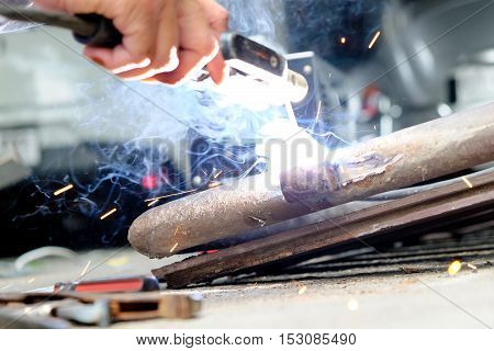 close up image of Welding steel background