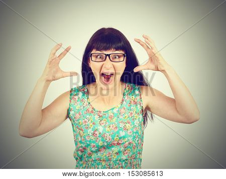 Young Woman In Glasses Screaming In Horror, Grimace