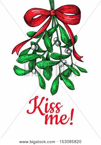 Kiss me under Mistletoe. Christmas card with decor plant. Hand drawn vector illustration. Botanical xmas element. Holly with leaves and berry. Great for card, poster, holiday decoration.