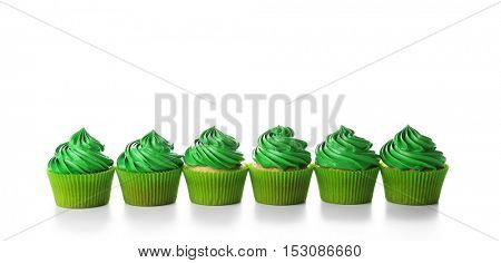 Pistachio cupcakes, isolated on white