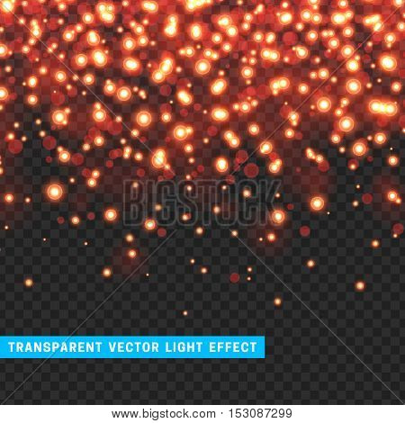 Vector with transparency light effect sparklers. Glitter background bright Christmas lights. Colourful Glowing Christmas Lights. Shining vector illustration